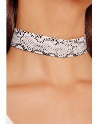 Missguided - Gray Faux Leather Snakeskin Choker Grey - Lyst