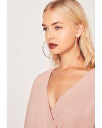 Missguided   Metallic Twisted Hoop Earrings Rose Gold   Lyst