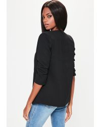 Missguided | Black Crepe Gathered Sleeve Button Blazer | Lyst