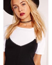 Missguided | Double Layer Spike Choker Necklace Black | Lyst
