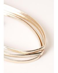 Missguided | Metallic Four Layer Faux Leather Choker Necklace Gold | Lyst