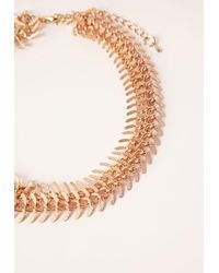 Missguided - Metallic Double Layered Half Leaf Choker Gold - Lyst