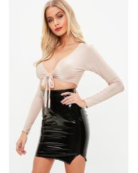 Missguided - Natural Nude Tie Front Slinky Crop Top - Lyst