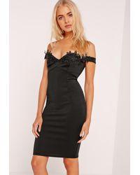Missguided | Applique Lace Trim Bardot Midi Dress Black | Lyst