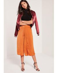 Missguided | Multicolor Hammered Satin Wrap Split Culottes Tan | Lyst