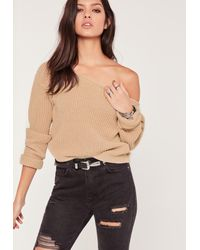 Missguided - Natural Off Shoulder Crop Jumper Nude - Lyst
