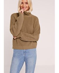 Missguided - Roll Neck Crop Jumper Brown - Lyst