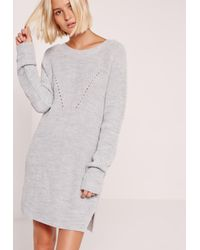 Missguided | Gray Crew Neck Knitted Mini Dress Grey | Lyst