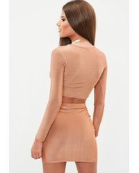 Missguided - Brown Long Sleeve Cropped Top - Lyst
