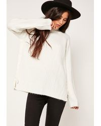 c99a38066e Lyst - Missguided White Lace Up Ribbed High Neck Jumper in White