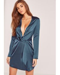 Missguided | Blue Silky Plunge Wrap Shift Dress Navy | Lyst