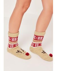 Missguided - Reindeer Slipper Socks Brown - Lyst