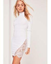 Missguided - Lace Insert Thigh Split Bodycon Dress White - Lyst