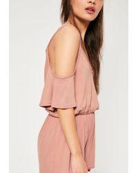 Missguided - Pink Jersey Cold Shoulder Romper - Lyst