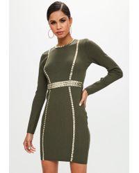 Missguided - Green Khaki Studded Detail Bodycon Dress - Lyst