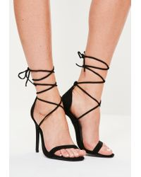306915c4def Lyst - Missguided Lace Up Barely There Heeled Sandals Black in Black