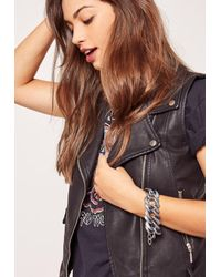 Missguided | Metallic Matte Chunky Chain Bracelet Silver | Lyst