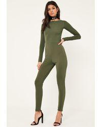 Missguided Multicolor Khaki Lace Up Back Long Sleeve Jumpsuit