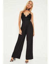 Missguided | Black Lace Top Wide Leg Strappy Jumpsuit | Lyst