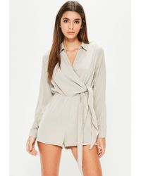 Missguided | Blue Nude Wrap Front Romper | Lyst