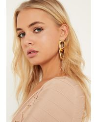 Missguided - Metallic Gold Chain Link Earrings - Lyst