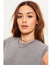 Missguided | Metallic Gold Cross Charm Layered Necklace Set | Lyst