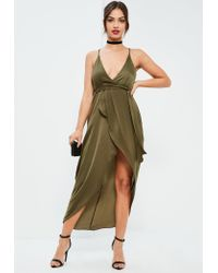 Missguided | Natural Khaki Silky Plunge Asymmetric Wrap Midi Dress | Lyst