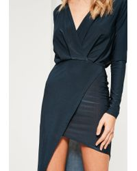Missguided - Blue Navy Long Sleeve Wrap Dress - Lyst