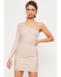 Missguided Pink Foil Ribbed One Shoulder Split Mini Dress