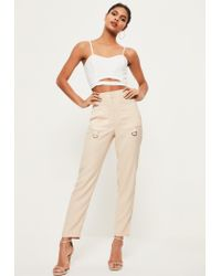 Missguided | Natural Nude Woven Crepe Satin Pocket D Ring Detail Cigarette Pants | Lyst
