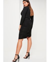 Missguided | Plus Size Black Lace Up Midi Skirt | Lyst