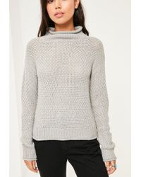 Missguided - Gray Grey Cozy High Neck Jumper - Lyst