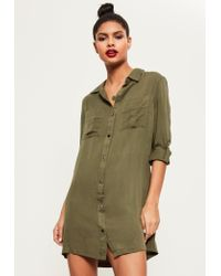 Missguided - Green Khaki Buckle Sleeve Military Shirt Dress - Lyst