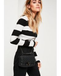 Missguided   Black Faux Leather Quilted Cross Body Bag   Lyst