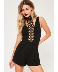 Missguided   Black Lace High Neck Strappy Playsuit   Lyst