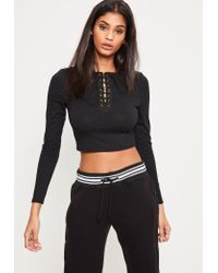 Missguided | Black Lace Up Detail Ribbed Crop Top | Lyst