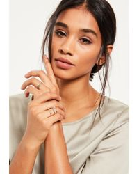 Missguided | Metallic Silver Diamante Four Pack Ring Set | Lyst