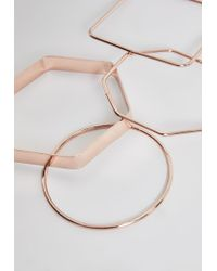 Missguided - Blue Rose Gold Metal Stacking Bracelets - Lyst
