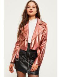 Missguided | Multicolor Petite Exclusive Rose Gold Faux Leather Biker Jacket | Lyst