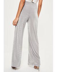 Missguided - Gray Grey Slinky Split Front Wide Leg Trousers - Lyst