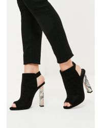 Missguided | Black Contrast Block Heeled Boots | Lyst