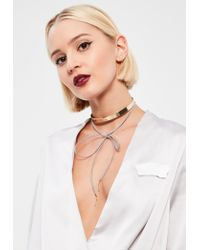 Missguided | Metallic Gold & Grey Metal Plate Choker Necklace | Lyst
