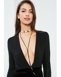Missguided | Metallic Silver & Black Metal Plate Choker Necklace | Lyst