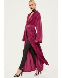Missguided - Pink Crushed Satin Waist Detail Duster Coat - Lyst