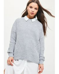 Missguided | Gray Grey Oversized Jumper | Lyst