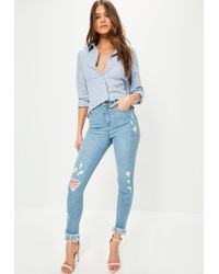 Missguided | Blue Sinner High Waisted Fray Hem Ripped Skinny Jeans | Lyst