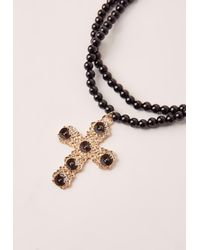 Missguided - Black Ornate Cross Pearl Necklace - Lyst