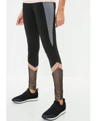 Missguided - Active Black Fishnet Insert Gym Leggings - Lyst