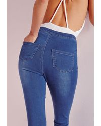 Missguided - Vice High Waisted Slash Knee Skinny Jeans Mid Blue - Lyst