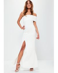 eddd3b19a3212 Lyst - Missguided White One Shoulder Maxi Dress in White